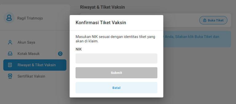Konfirmasi Tiket PeduliLindungi